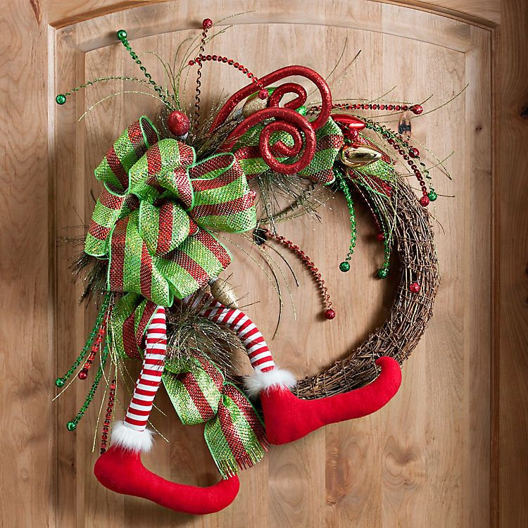 Merry and Bright Elf Leg Wreath   Kirklands   christmas   Pinterest ...