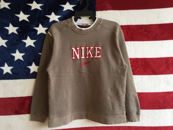 a0c4f2b9a Vintage 90s Nike Swoosh Spell Out Sweatshirt Brown Colour Nike Sweater  Pullover Embroidery Logo Nike