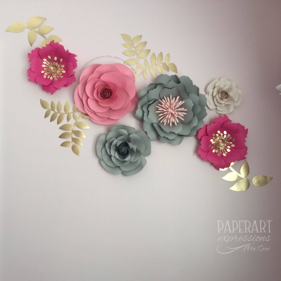 lovely 3d Flower Wall Decor Part - 5: Pink, gray and gold paper flowers-Home decor-3D flowers wall-Nursery decor-Paper  flower backdrop