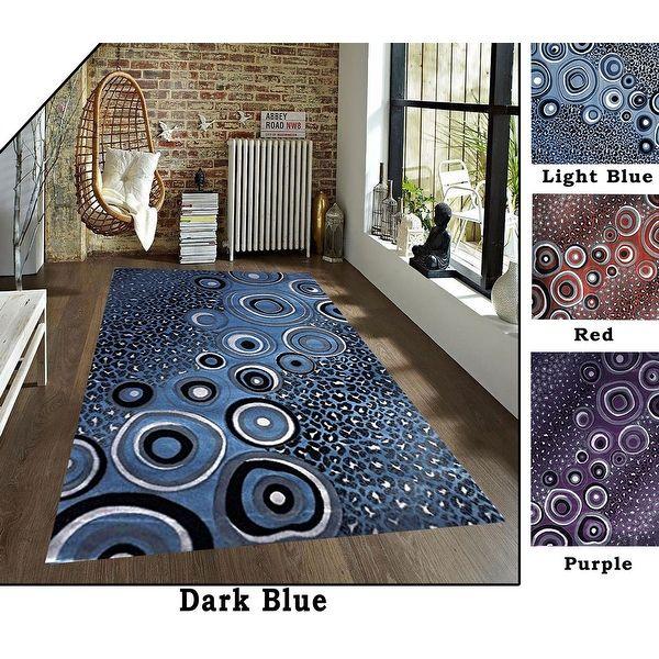 8x10 feet modern shag shaggy dark blue light blue red black purple rug area rug