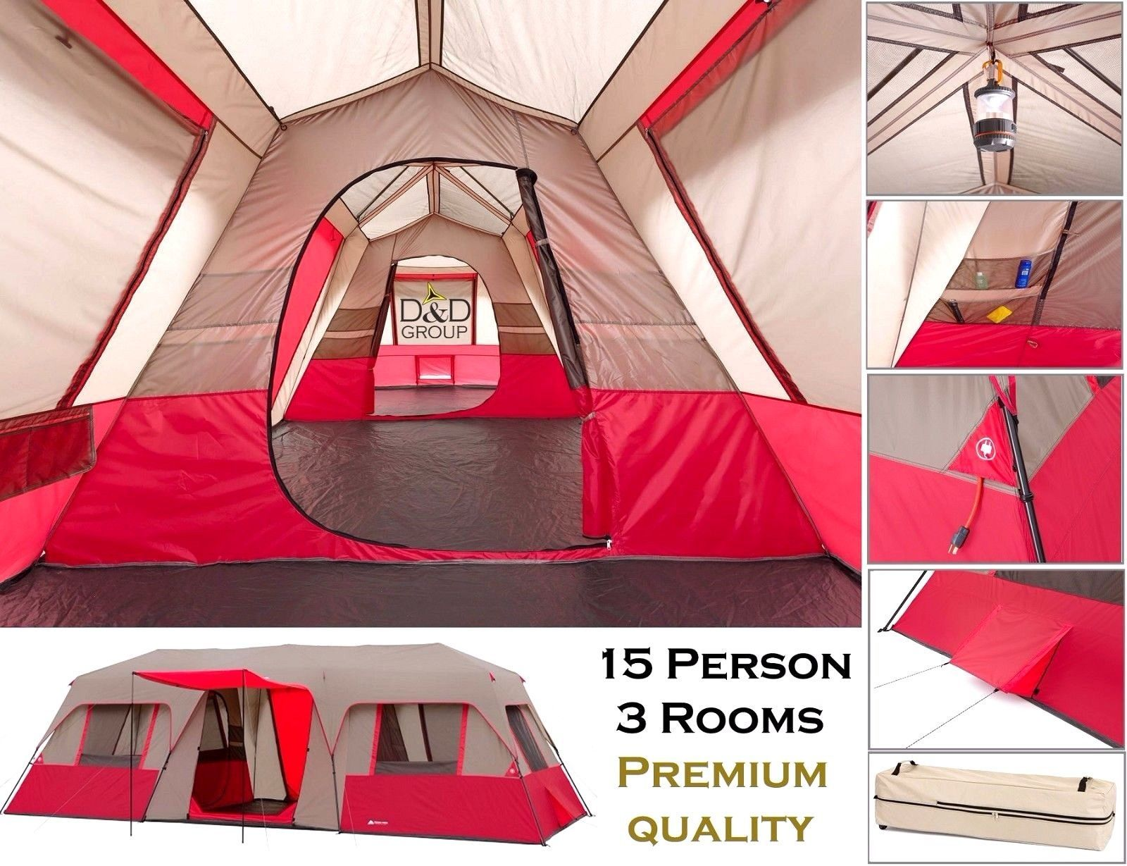Ozark Trail 15 Person 3 Room Tent Instant Large Cabin Split Waterproof Camping Tent Camping Beds Family Tent Camping Tent