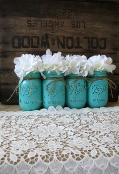 Turquoise And Beige Rustic Table Settings Google Search