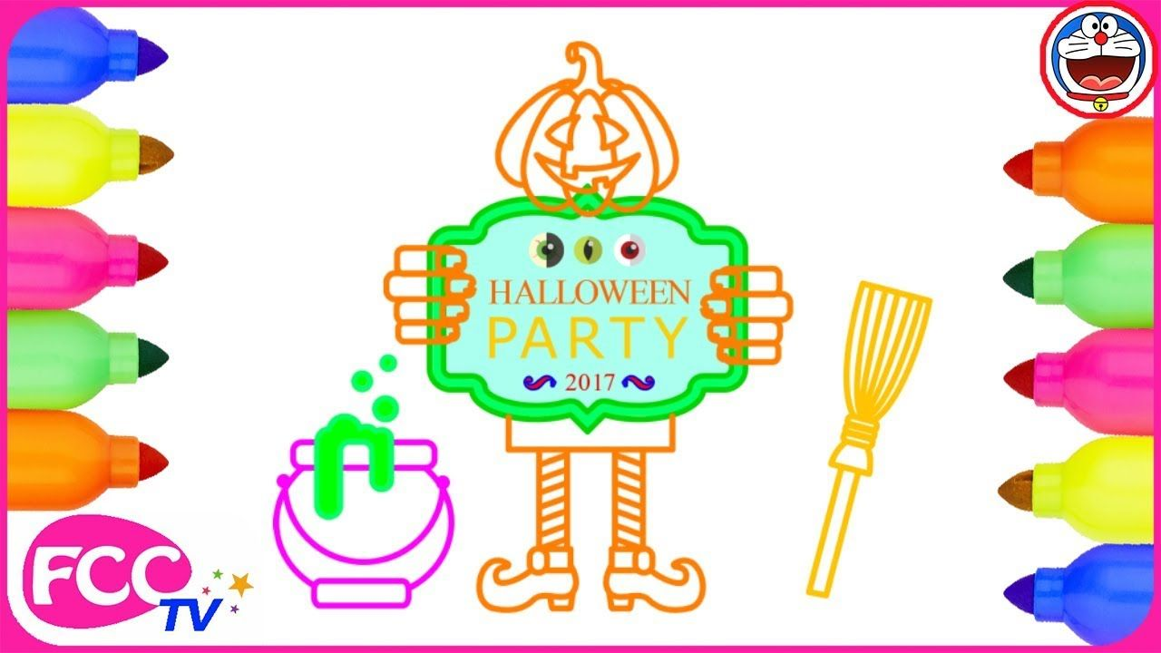 Halloween Party. Coloring Pages | Drawing for Kids | How to Draw ...