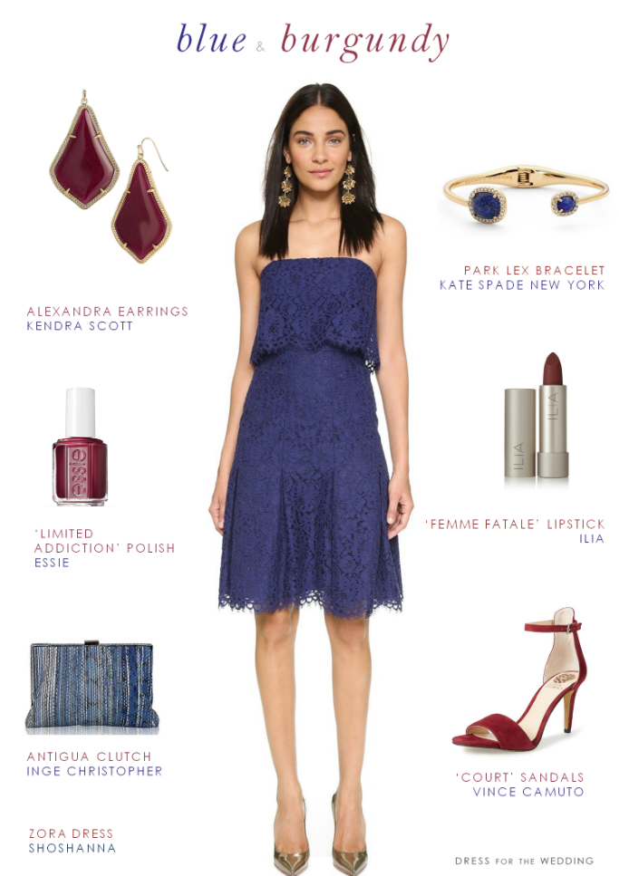 Navy Blue Dress And Burgundy Accessories For A Wedding Guest Outfit