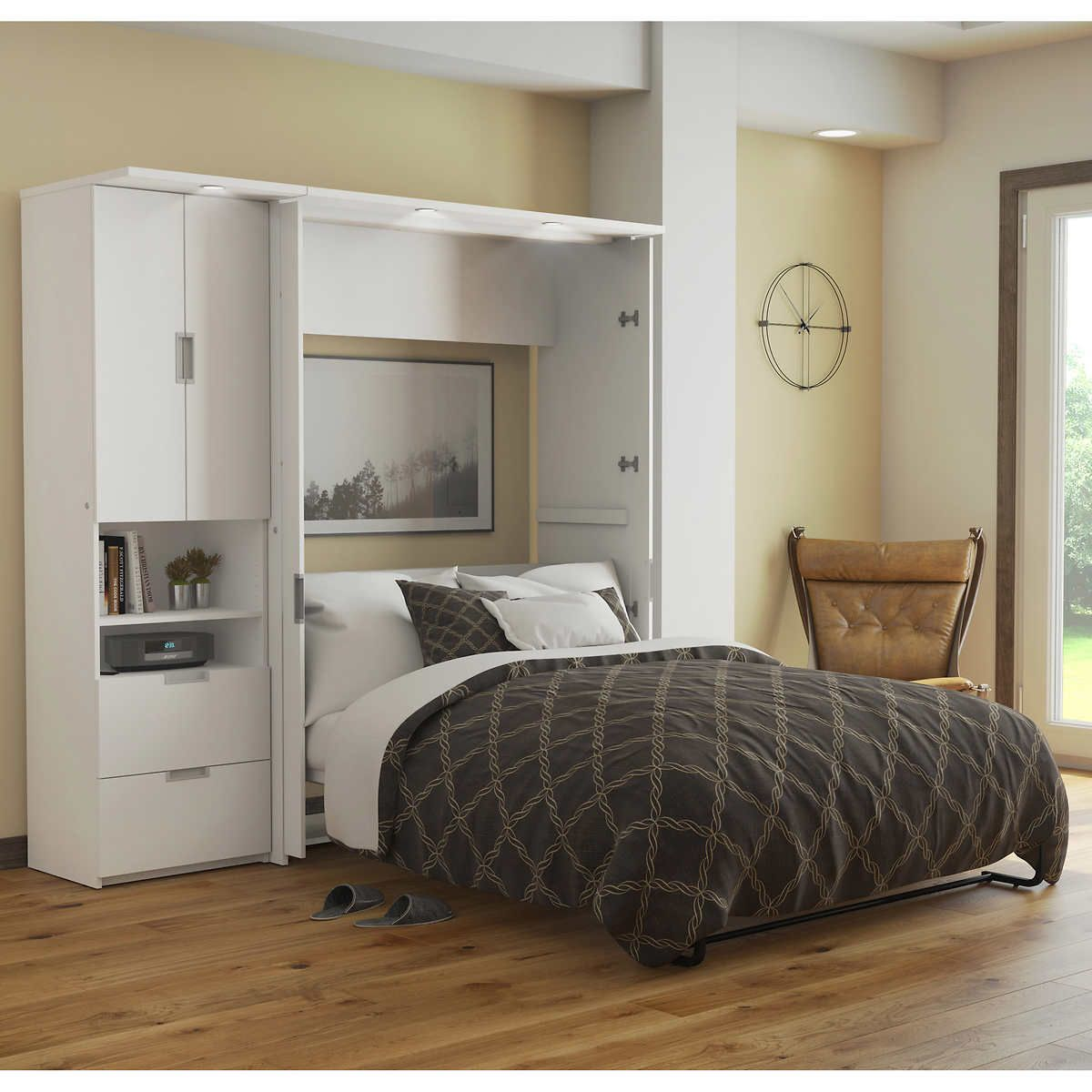 Lumina Full Wall Bed With One 23 5 Storage Unit White With
