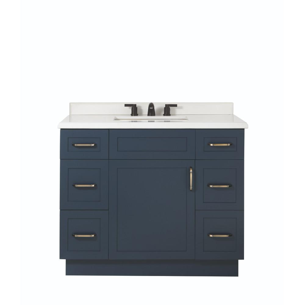 Home Decorators Collection Lincoln 42 In W X 22 In D X 34 5 In H Vanity In Midnight Blue With Cultured Stone Vanity Top In White With White Sink 9784900310 Blue