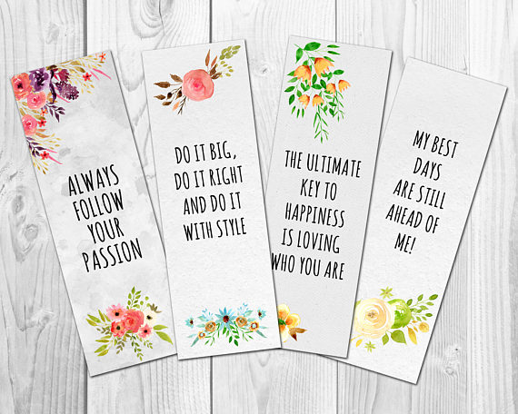 Motivational Bookmarks Template, Quote Bookmarks, Printable