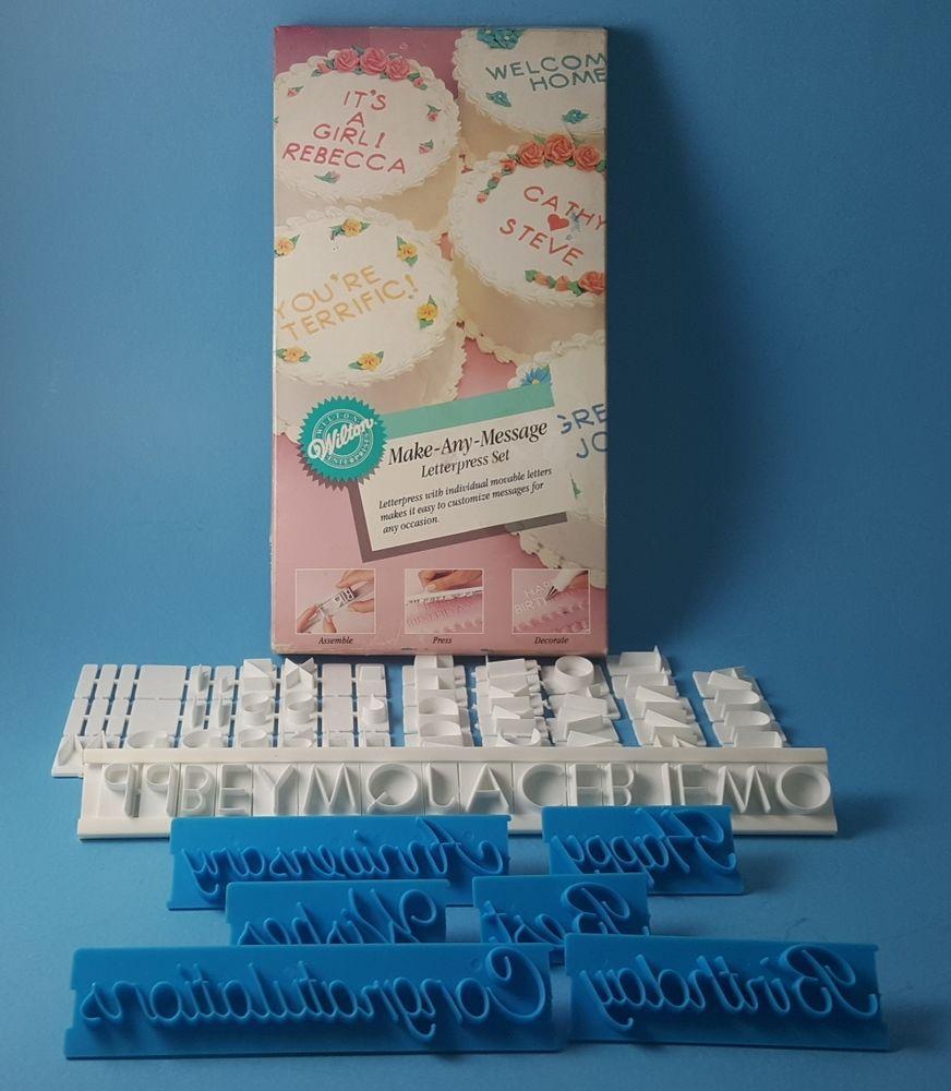 wilton make any message letterpress set script message set cake