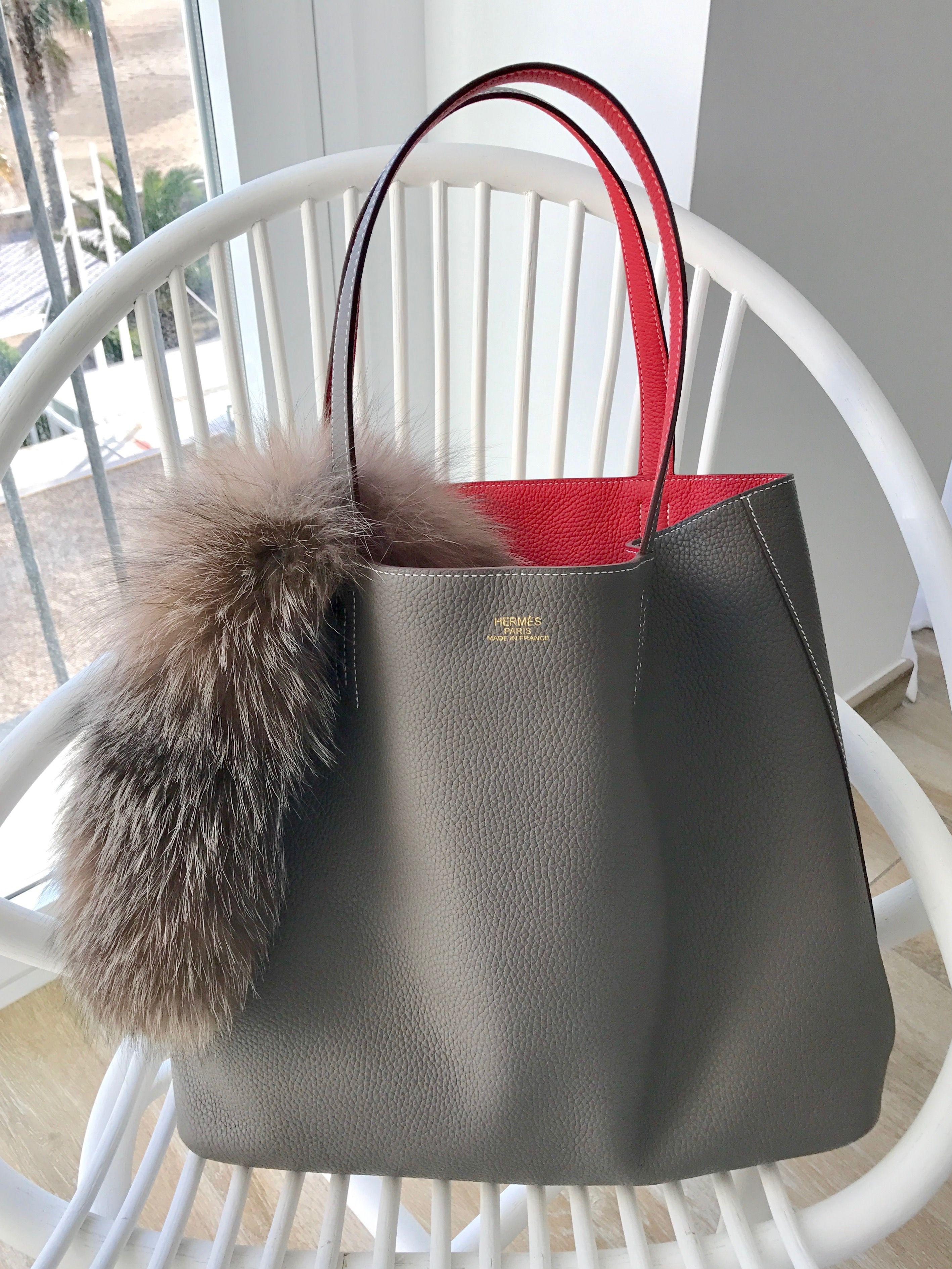 c5cd108de01b Hermès Double Sens 45 Taurillon Clemence Bougainvillier   Etain Hermes Bags