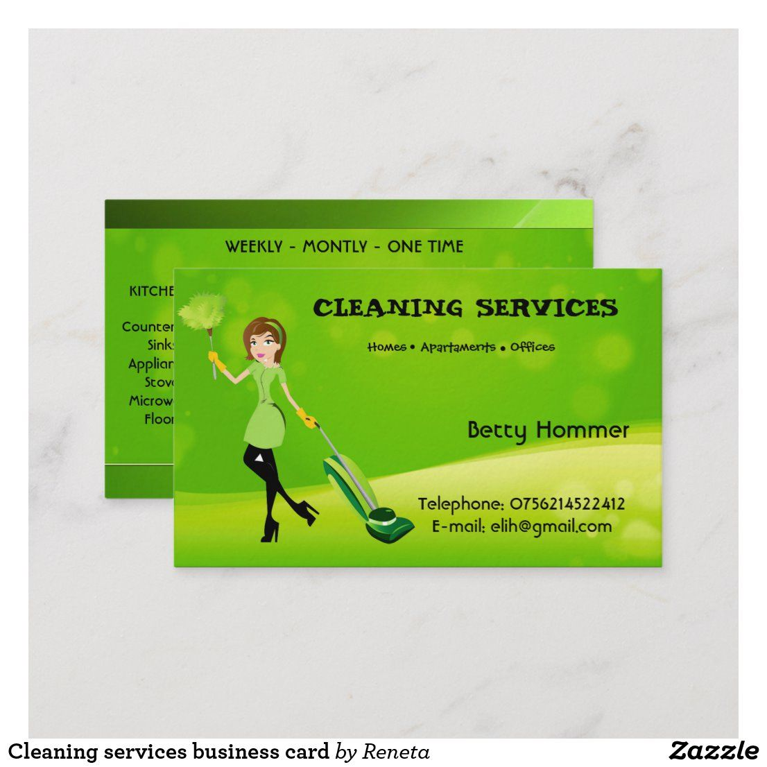 Cleaning services business card services business