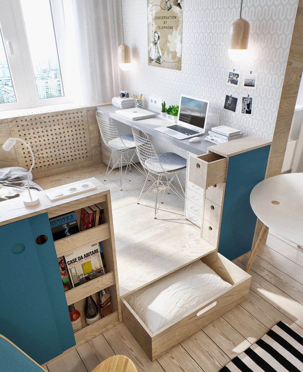 kleine wohnung modern und funktionell einrichten_kleines schlafzimmer einrichten in 1 zimmer wohnung - Langes Schmales Schlafzimmer Einrichten