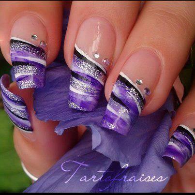 Purple Black Silver Nails Purple Nail Designs Cute Nail Art Designs Best Nail Art Designs
