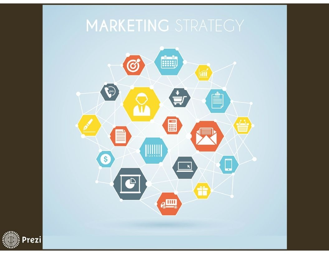 free prezi template that displays different icons related to marketing in the business world