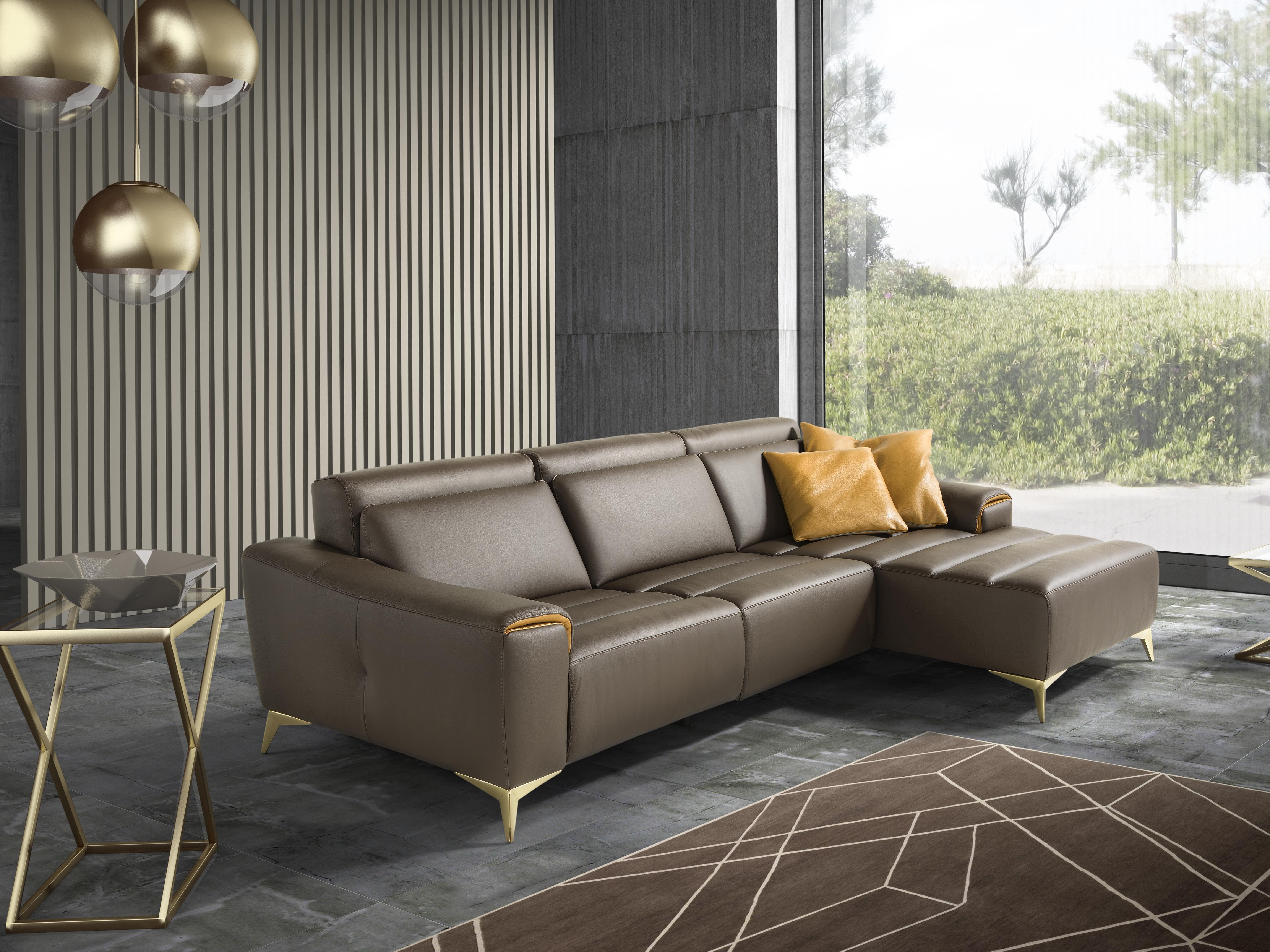 Sectional sofa with chaise longue SUZETTE by Egoitaliano