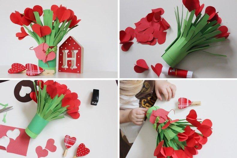 Bukiet Z Czerwonych Serduszek Crafts For Kids Crafts Diy And Crafts
