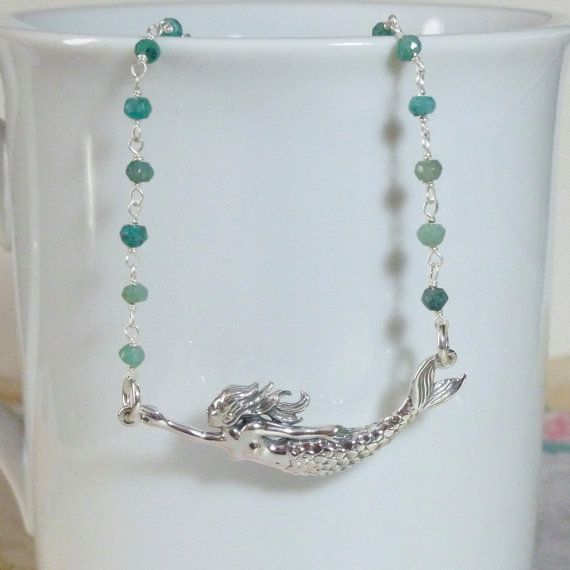 Mermaid Chrysocolla Gemstone Sterling Silver Rosary Chain Necklace by #DolphinMoonCreations #etsyjewelry #mermaidnecklace