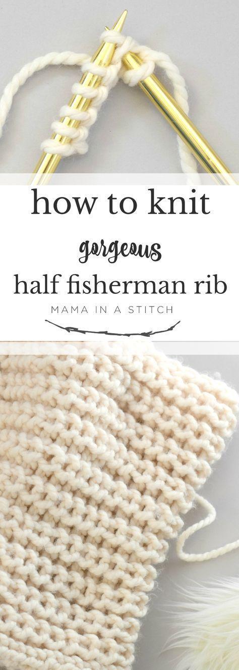 How To Knit Half Fisherman Rib Stitch Via Mamainastitch An Easy