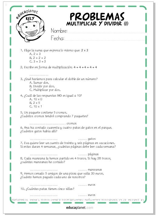 Fichas GRATIS para imprimir con problemas de multiplicaciones y ...