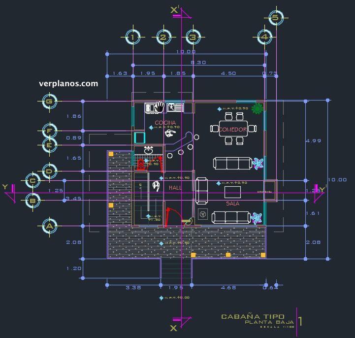 Primer piso descargar plano de casa en cad planos de for Planos de casas de un piso gratis