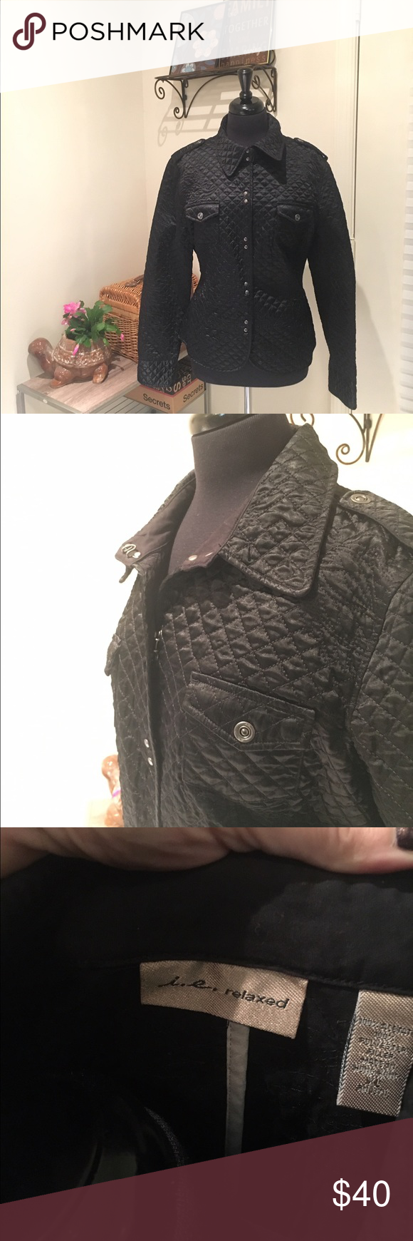 Quilted jacket I. E. relaxed size XL black quilted jacket. In excellent condition i. e.  Jackets & Coats