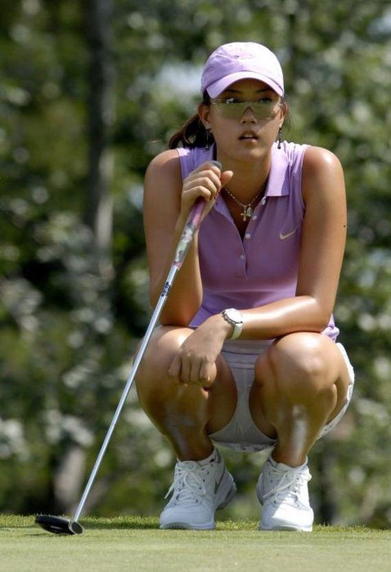 Woman golfer nice butt upskirt