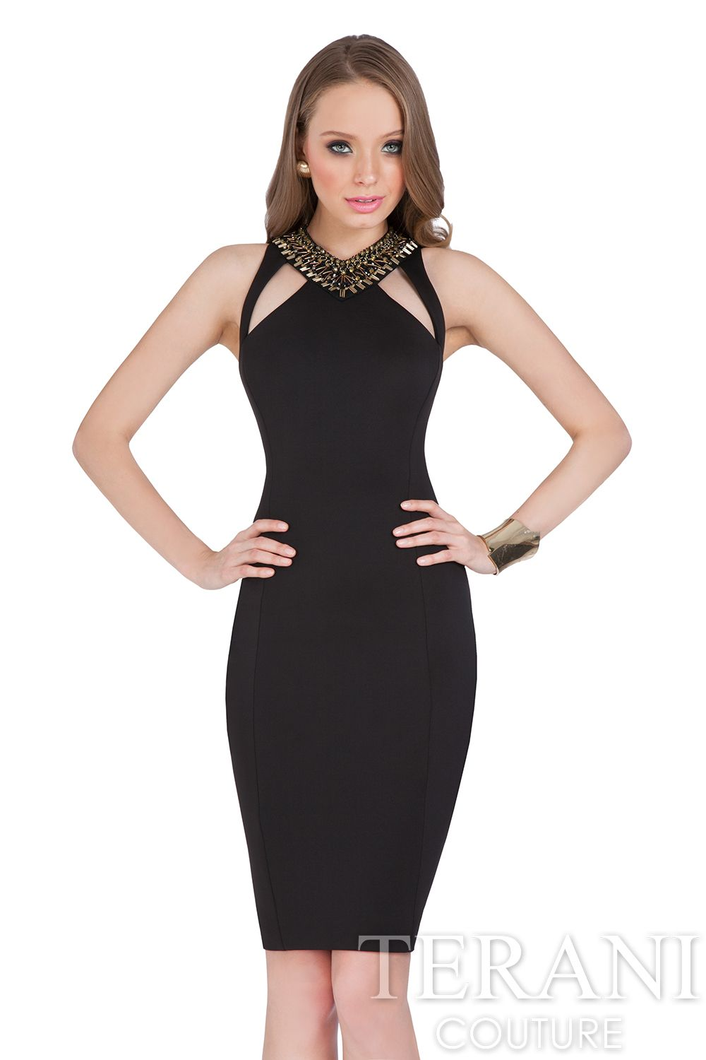 Terani Couture knit #cocktaildress with mesh sleeves. This ...