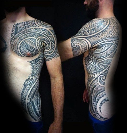 Full Rib Cage Side Of Body Mens Tribal Tattoos | Tattoo ideas ...