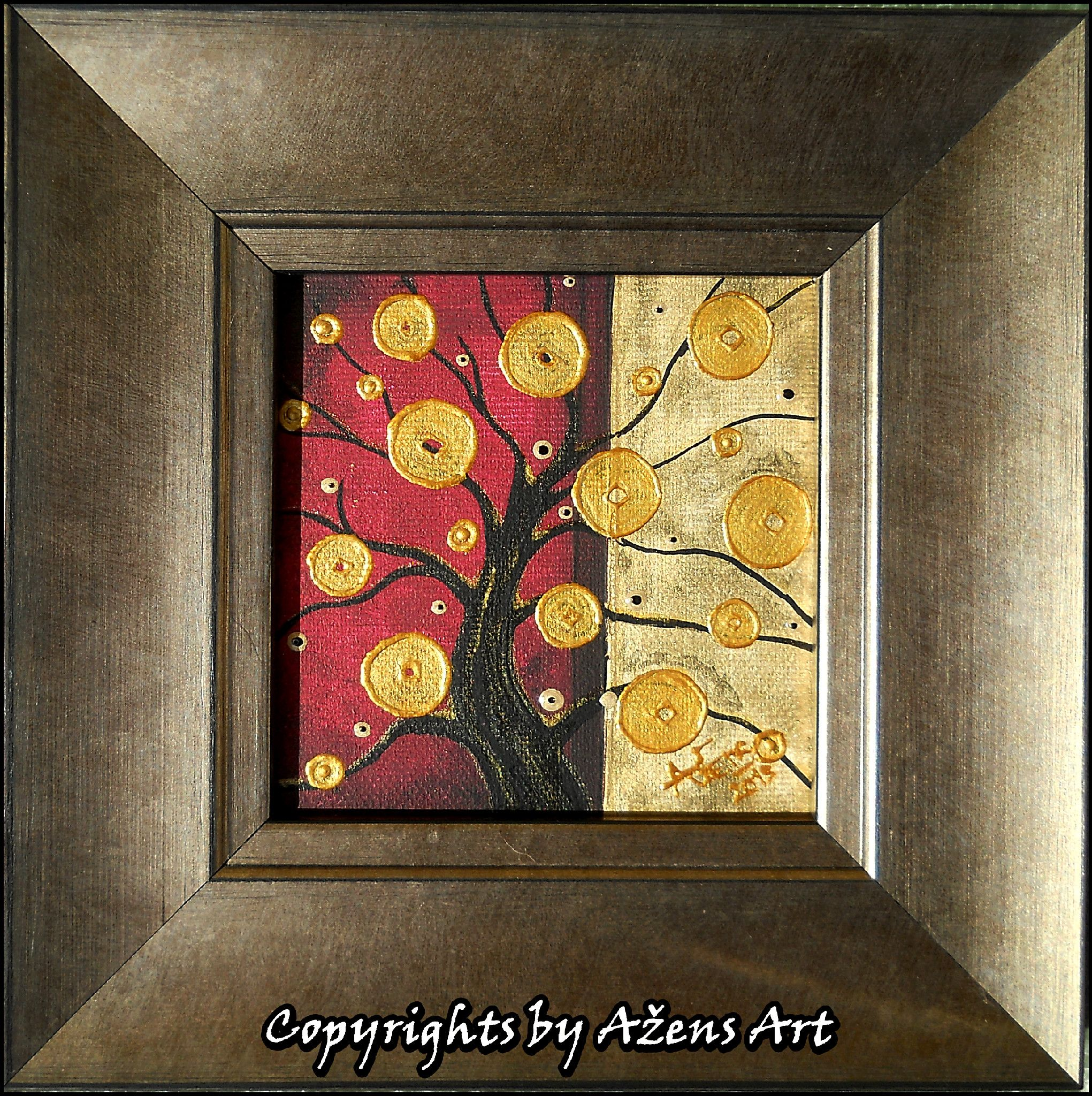 Miniature Tree Of Life 10 Mixed Media On Canvas 10 X 10 Cm Frame 19 X 19 X 2 5 Cm With Images Mixed Media Canvas Art