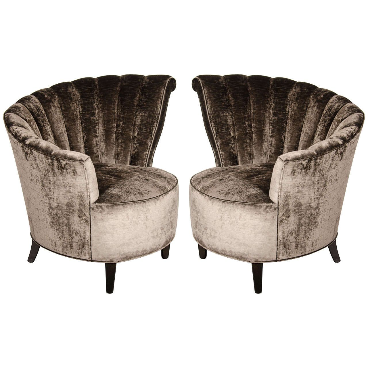 Glamorous Pair of 1940s Asymmetrical Fan Back Chairs in