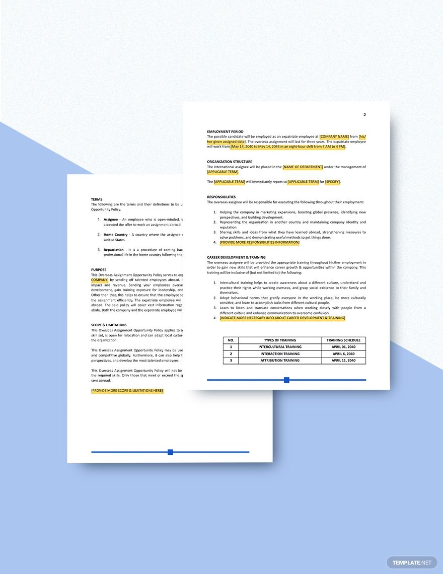 Overseas Assignment Opportunity Policy Template Free Pdf Google Docs Word Apple Pages Template Net Policy Template Proposal Templates Templates Travel policies and procedures template