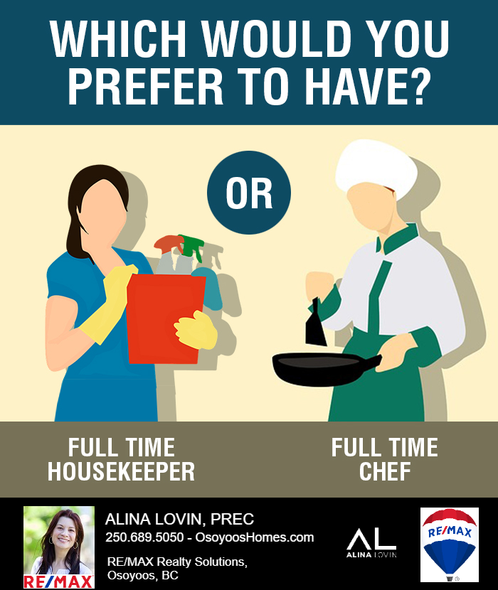 I think I prefer the full time chef... or both 😜  🏡 Thinking of selling your home? ☎ Need Market advice? 📞Call/Text Alina at 250-689-5050. I would 💗 to hear from you!!!!