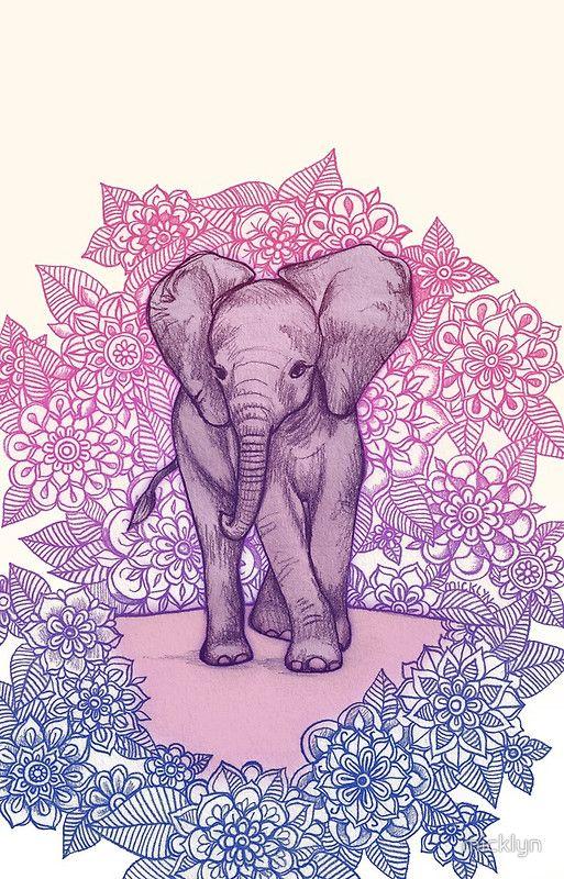 Cute Baby Elephant In Pink Purple Blue