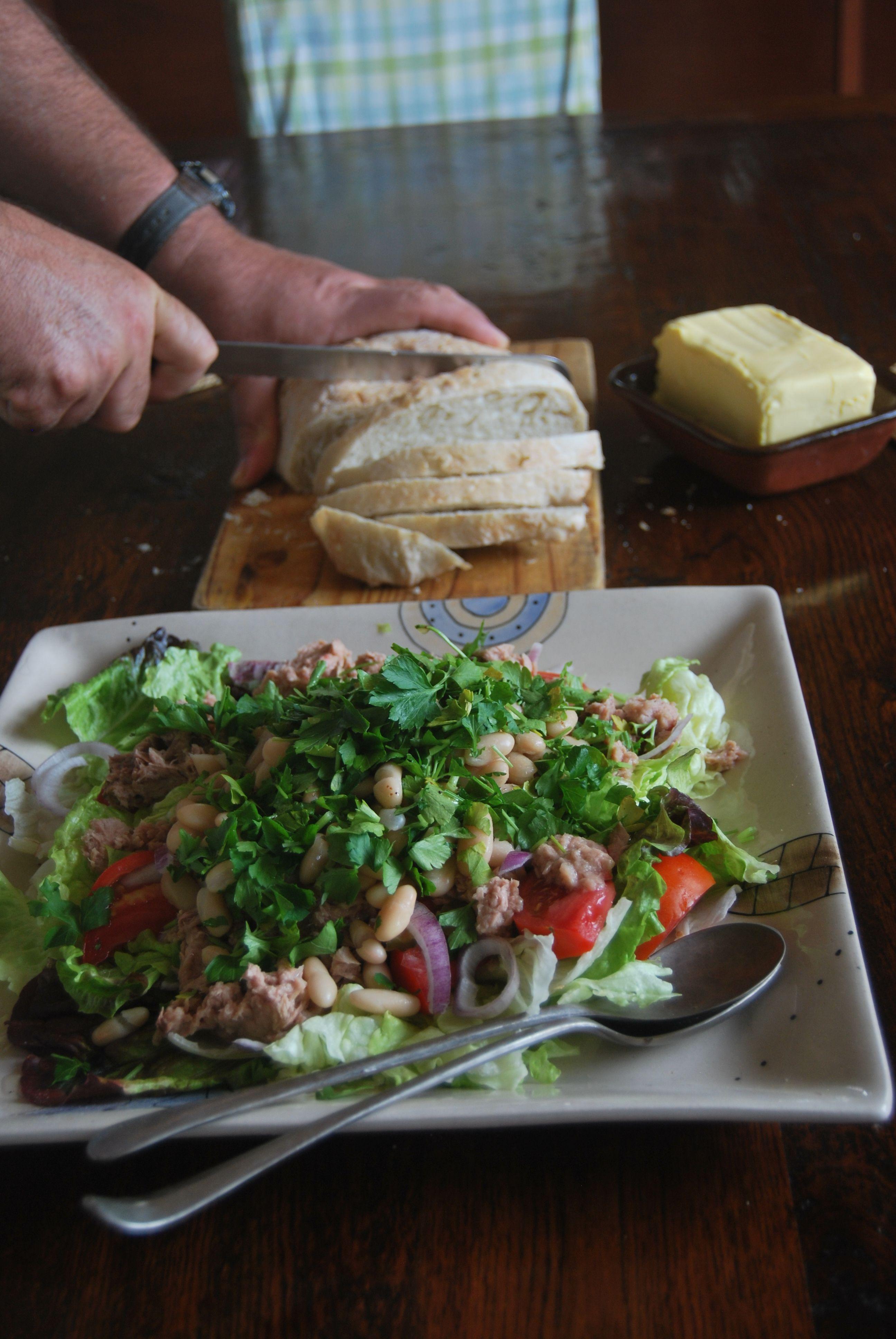 Italian white bean salad, local tomatoes & Family ciabatta
