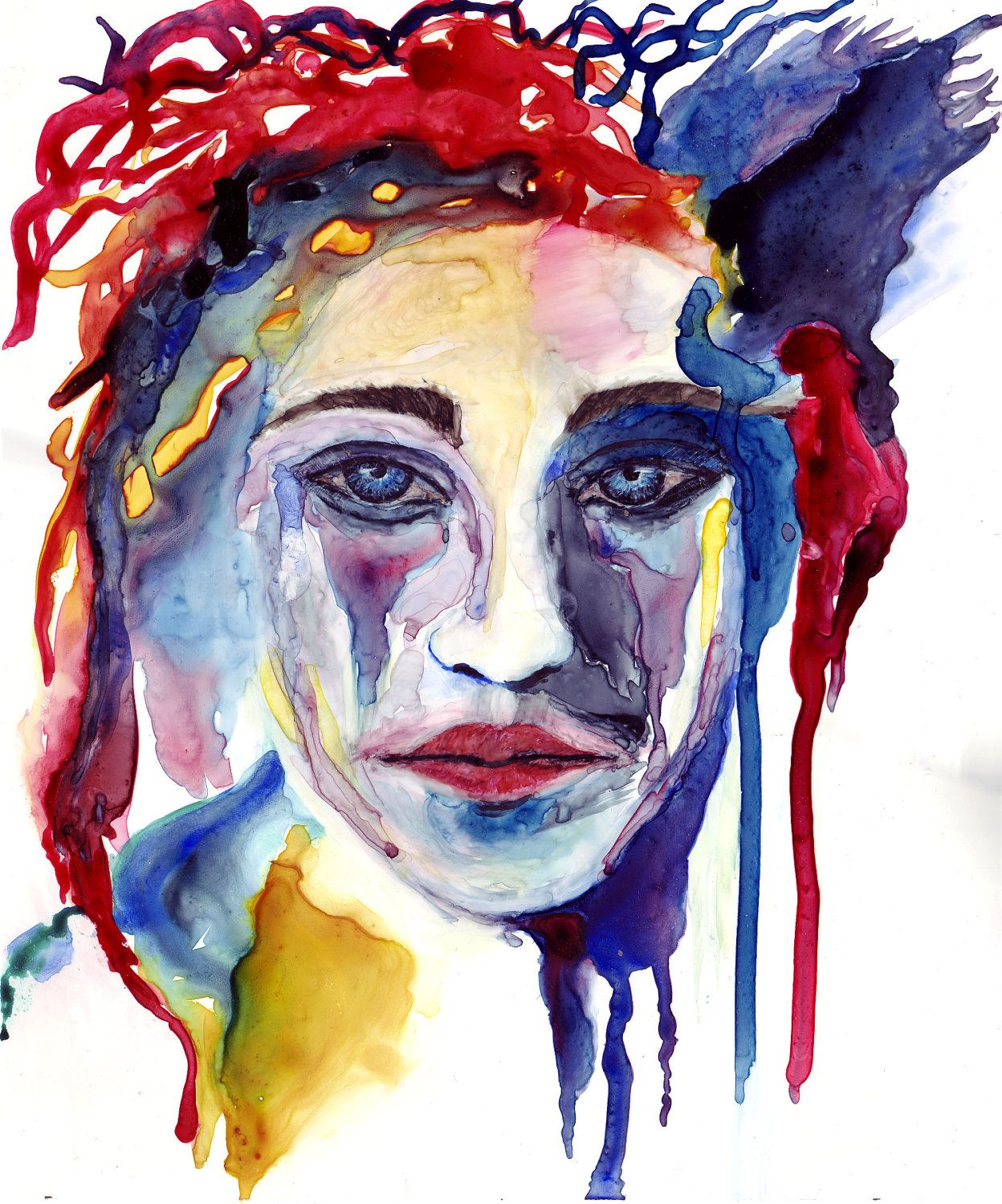 Image detail for -Abstract Portrait Original Watercolor Painting by pcoyne on Etsy