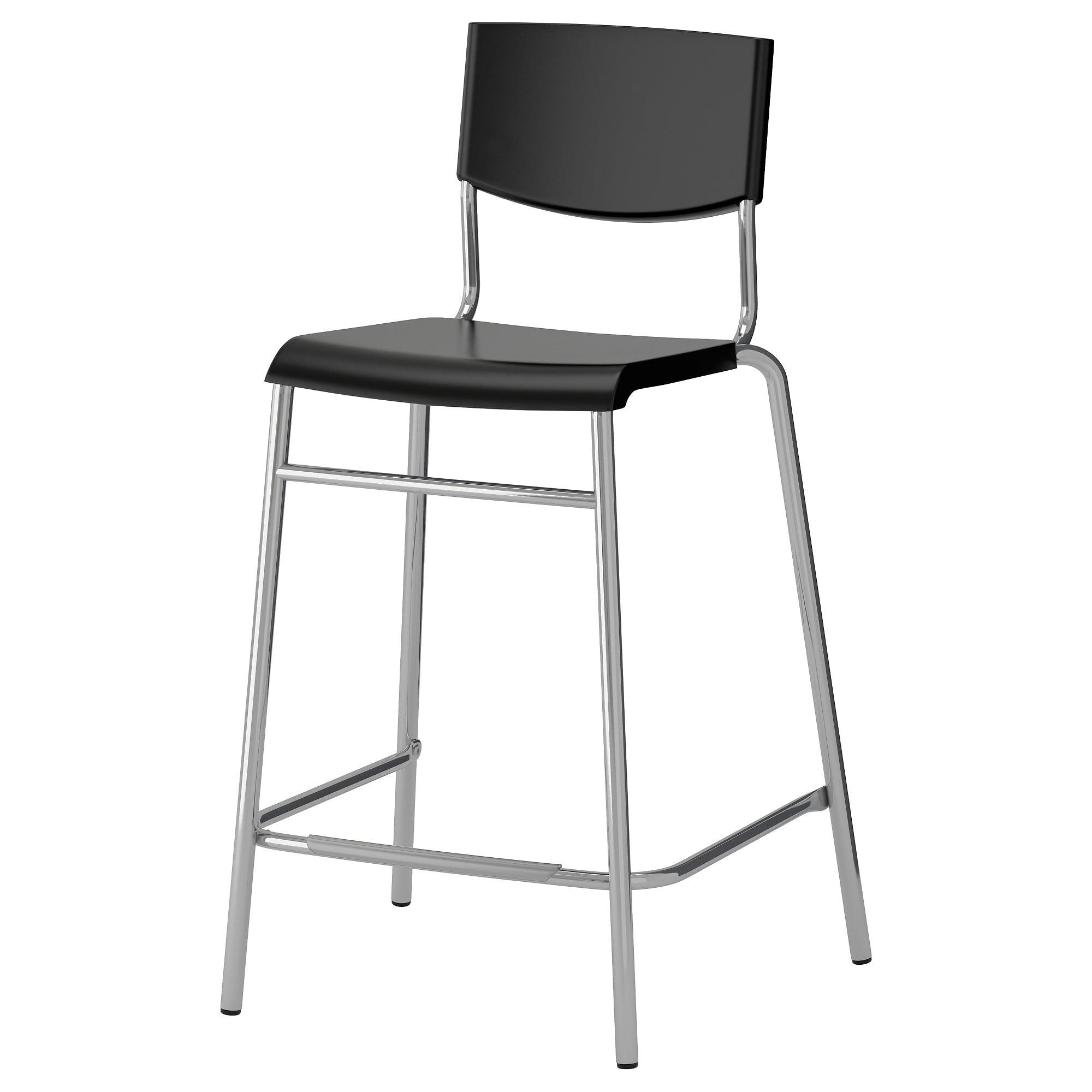 Ikea Stig Black Silver Color Bar Stool With Backrest Ikea