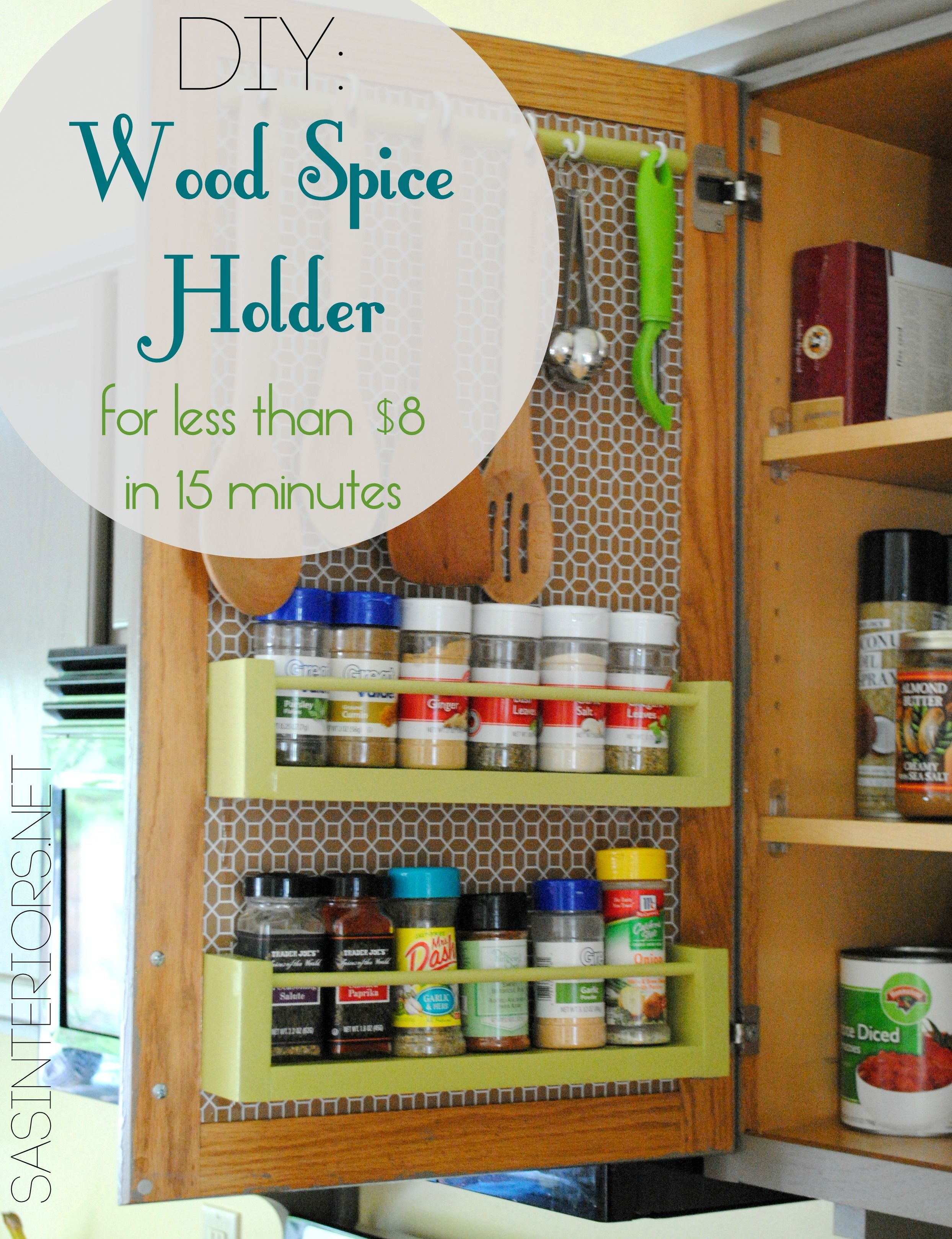 DIY Wood Spice Rach Holder for inside the kitchen cabinets Less