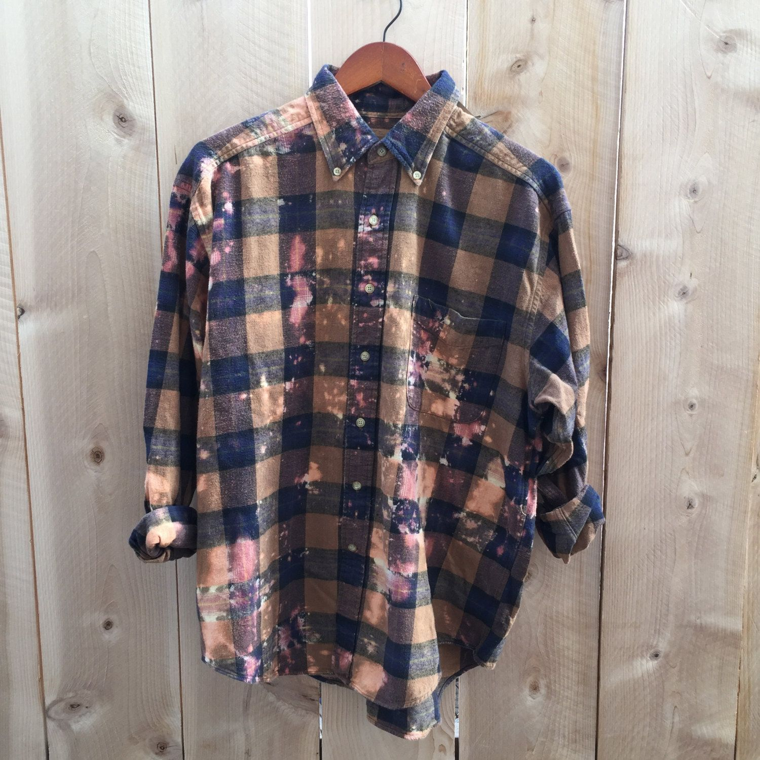 055928556a2b Distressed flannel shirt, brown blue plaid, grunge clothing, hipster  clothing, oversized vintage soft, large gender neutral upcycled clothes by  RestoredRose ...