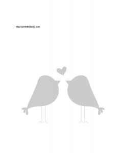 Love birds and heart stencil