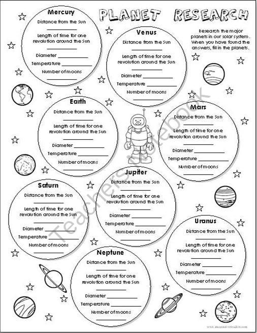 free planet research worksheet from imaginative teacher on 1 page a. Black Bedroom Furniture Sets. Home Design Ideas
