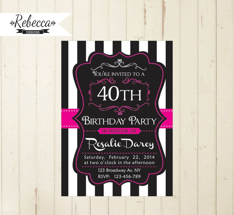 women birthday invite 21st birthday 30th by RebeccaDesigns22 | 40th ...