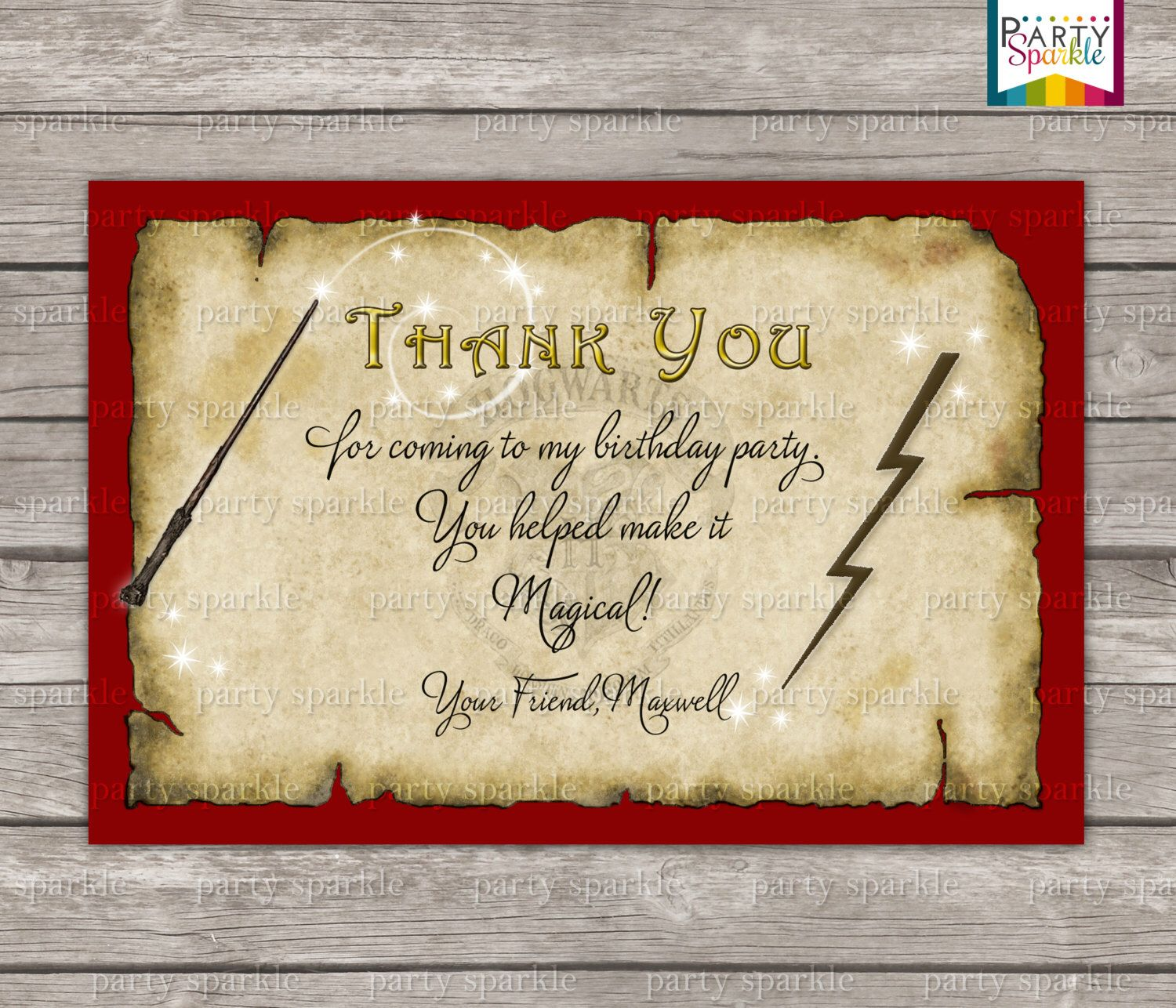 Hogwarts Thank You Card Harry Potter Birthday