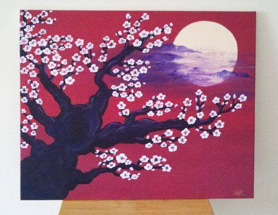 Red Black White Custom Cherry Blossom Painting Etsy Cherry Blossom Painting Painting Cherry Blossom