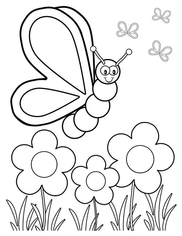 Spring, Butterfly and Three Spring Flower Coloring Page
