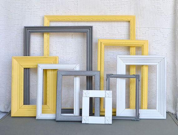 Graygrey Yellow White Ornate Frames Set Of 9 Upcycled Frames