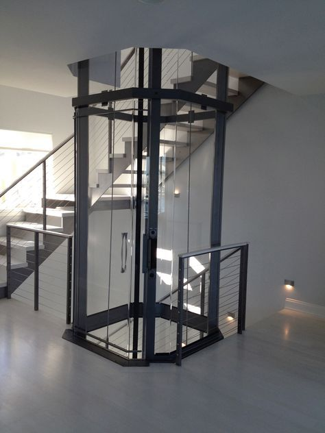 Octagonal Visilift Residential Elevator Staircase Design House Elevation Stairs Design