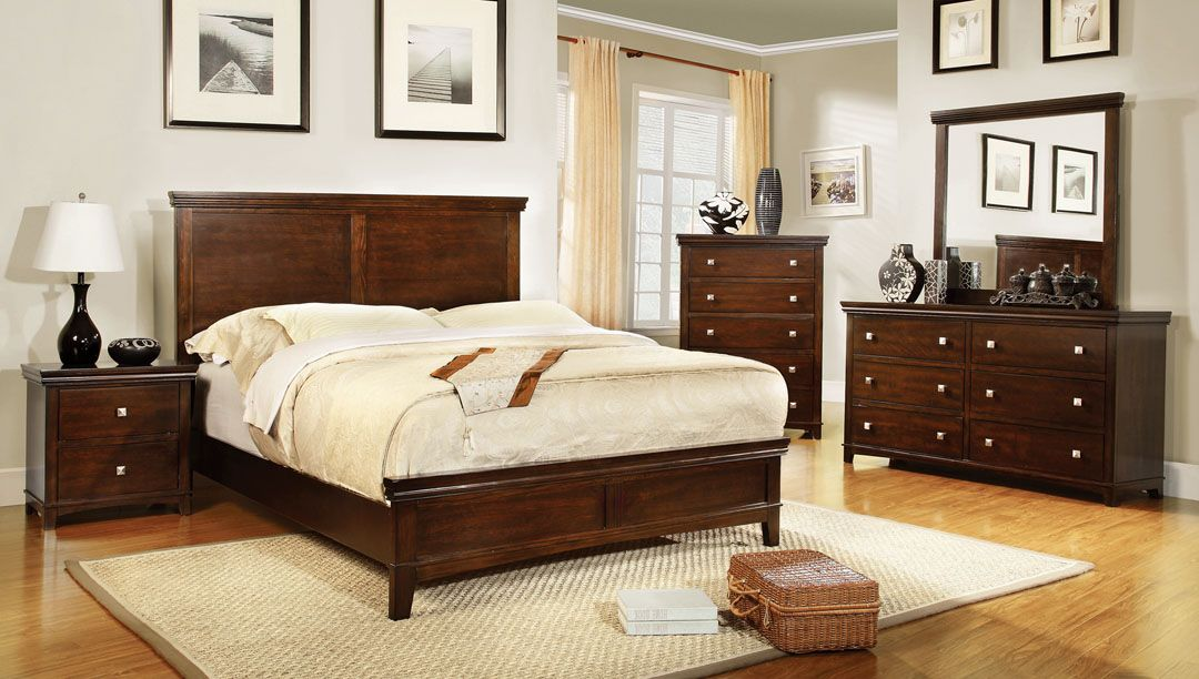 Furniture of america CM7113CH 5 pc spruce transitional style brown ...
