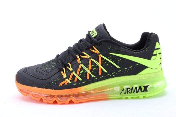 new styles 89911 29789 Barato Nike Air Max 2015 Negro Naranja Verde II Zapatillas colorful shoes  for men
