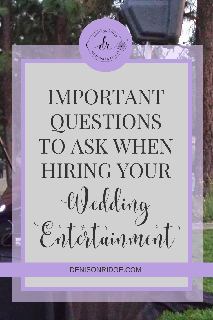 DIY wedding planning can be stressful.  Help ease some of the pressure by checking out these questions to ask before hiring a wedding DJ! #weddingplanning #weddingdj #eventplanning