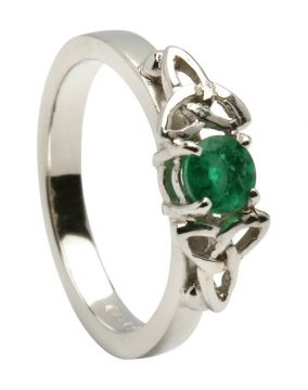 14K White Gold Trinity Knot Engagement Ring   Set With Emerald