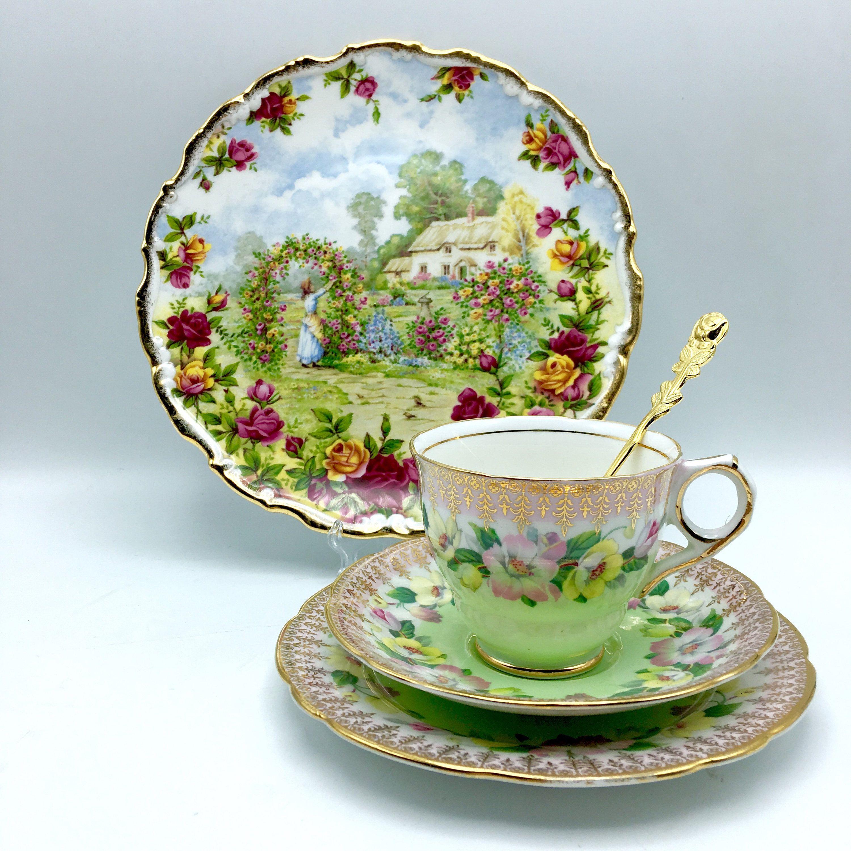 Incroyable Assiette Porcelaine Anglaise #10: Assiette à Dessert Assiette Gâteau Royal Albert Fine China Bone Porcelaine  Anglaise Or Fleurs Paysage Scène